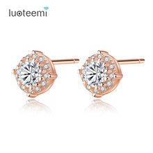 LUOTEEMI 2018 New Design Genuine 925 Sterling Silver Rose Gold Color Stud Earrings For Women CZ Crystal Small Earrings Jewellery(China)