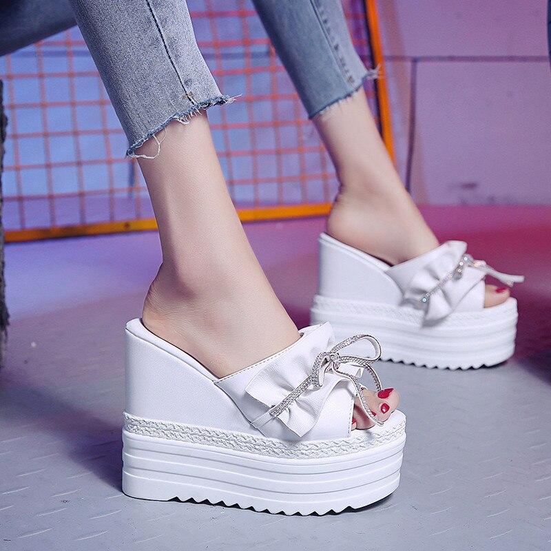 2019 Summer New Women Shoes Wedge Slippers Solid Super High Heel Women Shoes 11 Cm Heel Platform Slippers