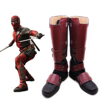 New Movie The Avengers X-Men Hero Deadpool Cosplay Shoes Superhero Boots PU Leather Zipper-up Size 35-47