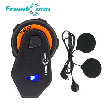 1pc Freedconn Intercom T-maxE Motorcycle Helmet Headset 6 Riders Group Talk 1000m FM Radio Bluetooth 4.1 Wireless Interphones
