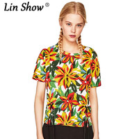 LINSHOW Casual O Neck Printed Funny T Shirts Bandage Drawstring Toyouth Summer Women T Shirt Party