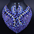 Dubai Jewelry Sets Luxury Big Crystal Necklace  earrings set for Women Christmas Party accessory