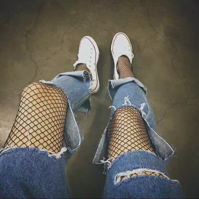 Women Sexy Transparent Slim Fishnet Pantyhose 2018 Nightclub Net Holes Black Tights Thigh High Stockings Small/Middle/Big Mesh