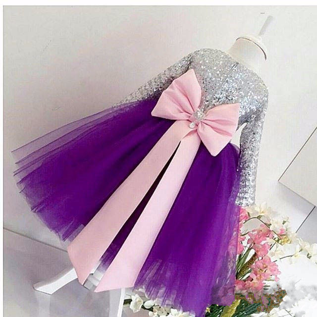 Bling Bling silver sequins Long Sleeves Purple flower girl dress Baby Birthday Party glitz pageant dresses ball gowns for Kids new elegant long sleeves knee length blush pink flower girls dresses glitz pageant dresses baby birthday party dress ball gowns