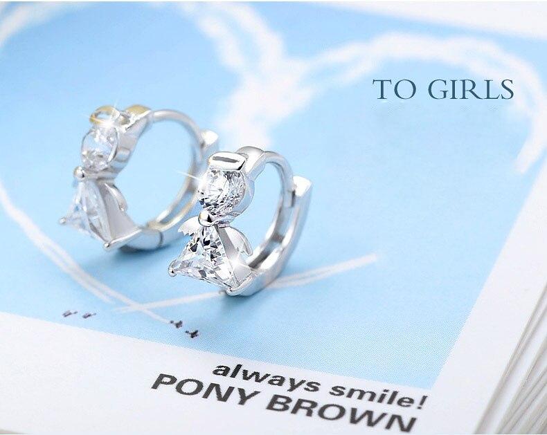 New Luxury Crystal 925 sterling silver Stud Earrings Angel Design Earring For Women korea Jewelry 2020
