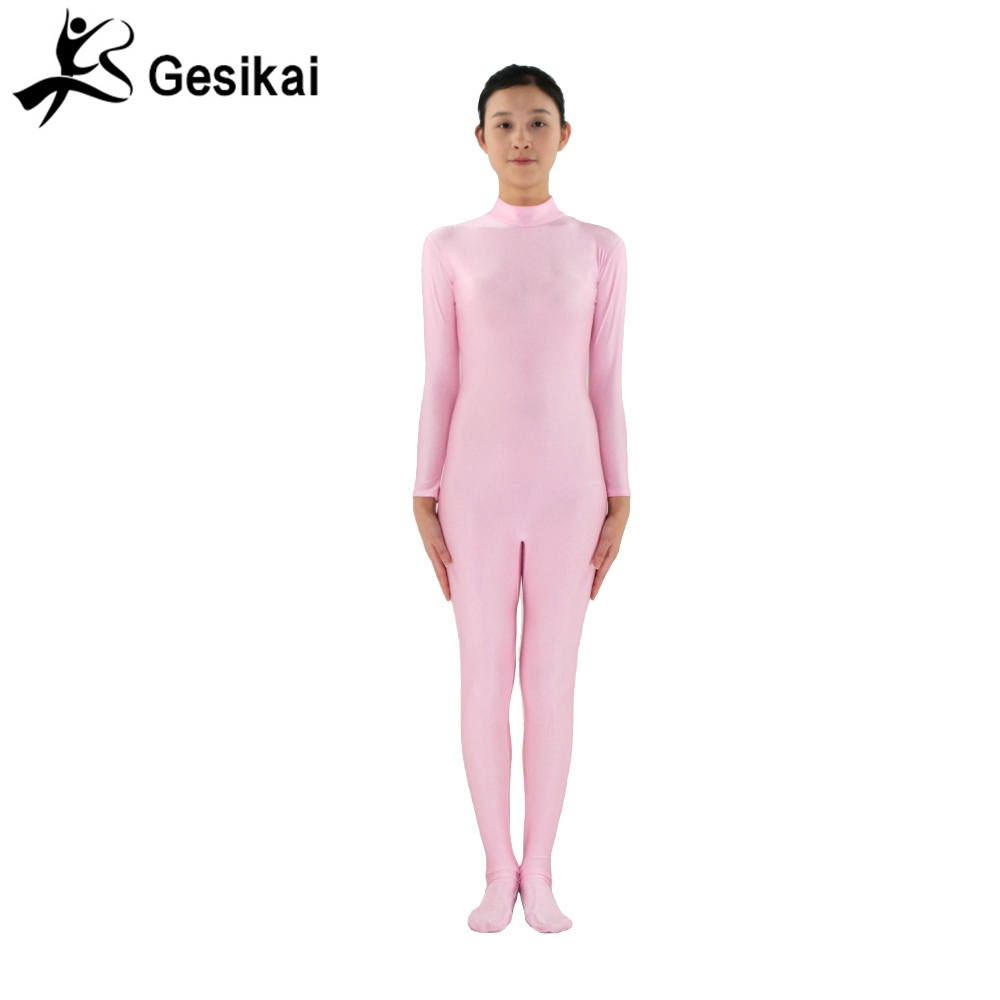 24 Hrs Shipped Out Womens Footed Unitards Pink Long Sleeves Turleneck Unitard Womens Yoga Dancewear Fitness Suits