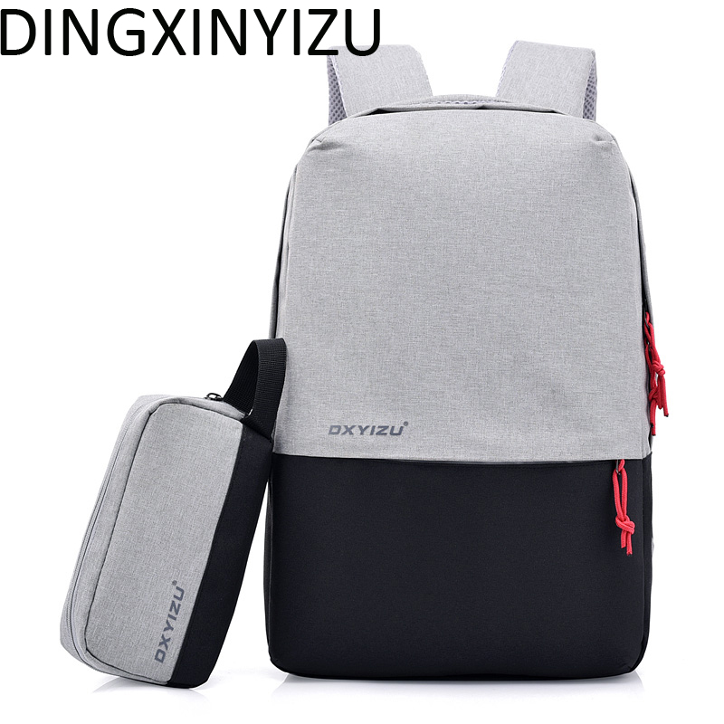 DINGXINYIZU Unisex Design 15.6 Inch Laptop Backpack Canvas Men USB Charging Student School Bag Women Casual Rucksack Man Mochila ozuko multi functional men backpack waterproof usb charge computer backpacks 15inch laptop bag creative student school bags 2018