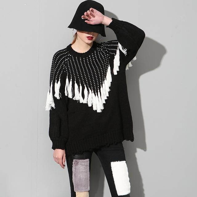 [Soonyour] 2017 primavera nova moda em torno do pescoço borla decorado longo-manga comprida com capuz camisolas de malha das mulheres por atacado as21101