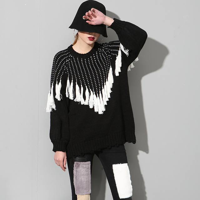 [soonyour] 2017 Spring Fashion new round neck tassel decorated long-sleeved hooded knit Sweatshirts women's wholesale AS21101
