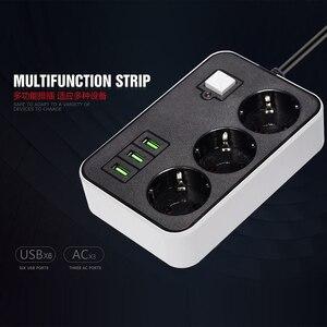 Image 4 - Network Filter Smart USB Power Strip Socket EU Plug 3 Socket 3USB Port 1.8M Extension  Socket Cord  Multi Plug Socket Adapter