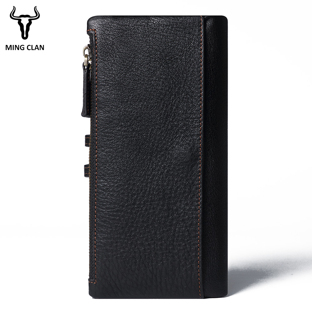 Mingclan Genuine Leather Lady Long Wallet Female Men Women Zipper Clutch Walet Coin Purse Rfid Portfolio Travel Business Card