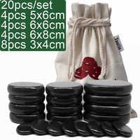 20 unids/set piedra caliente masaje piedra de masaje corporal set salón SPA con bolsa de lona gruesa CE y ROHS