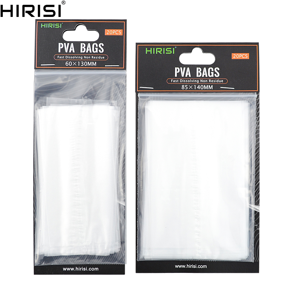 50pcs//Set 6x12cm PVA Water Soluble Dissolvable Clear Bags Fishing Tackle Baits