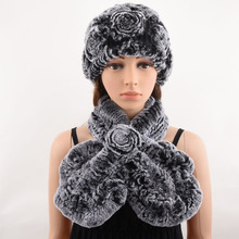 2 piece real fur hat and scarf set  women's warm winter soft natural rex rabbit cap Handmade Knitted scarves best gift
