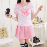 Japanese School Uniform For Girls Sailor Tops Tie Skirt Navy Style Students Clothes For Girl Plus