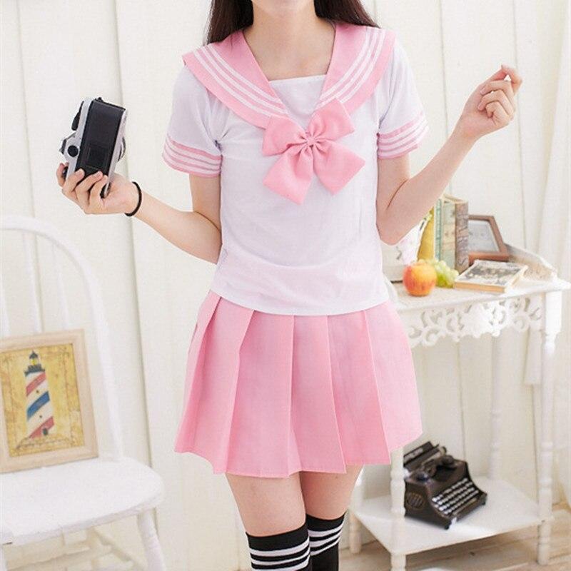 Japanische Schuluniform Für Mädchen Sailor Tops + Tie + Rock Navy Stil Studenten Kleidung Für Mädchen Plus größe Lala Cheerleader kleidung