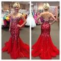 Vestido de formatura 2017 nueva llegada alfombra de tela lentejuelas de cristal rojo prom dress envío rápido sexy plus size club de vestidos