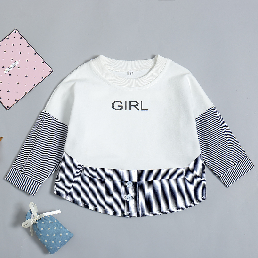 Autumn winter Newborn Toddler Tops And Blouses Black white Striped Top Kid Shirt With Long Sleeves T Shirt Baby Girl in Tees from Mother Kids