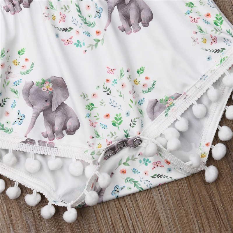 2019 letnie dziecko dziewczyny ubrania 2 sztuk Cartoon słoń druku śpioszki dla niemowląt + z pałąkiem na głowę dla niemowląt Tassel noworodków ubrania dla dzieci ładny strój