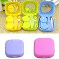 Portátil de Bolso Bonito Mini Lente de Contato Caso Kit de Viagem Recipiente Espelho 5 Cores
