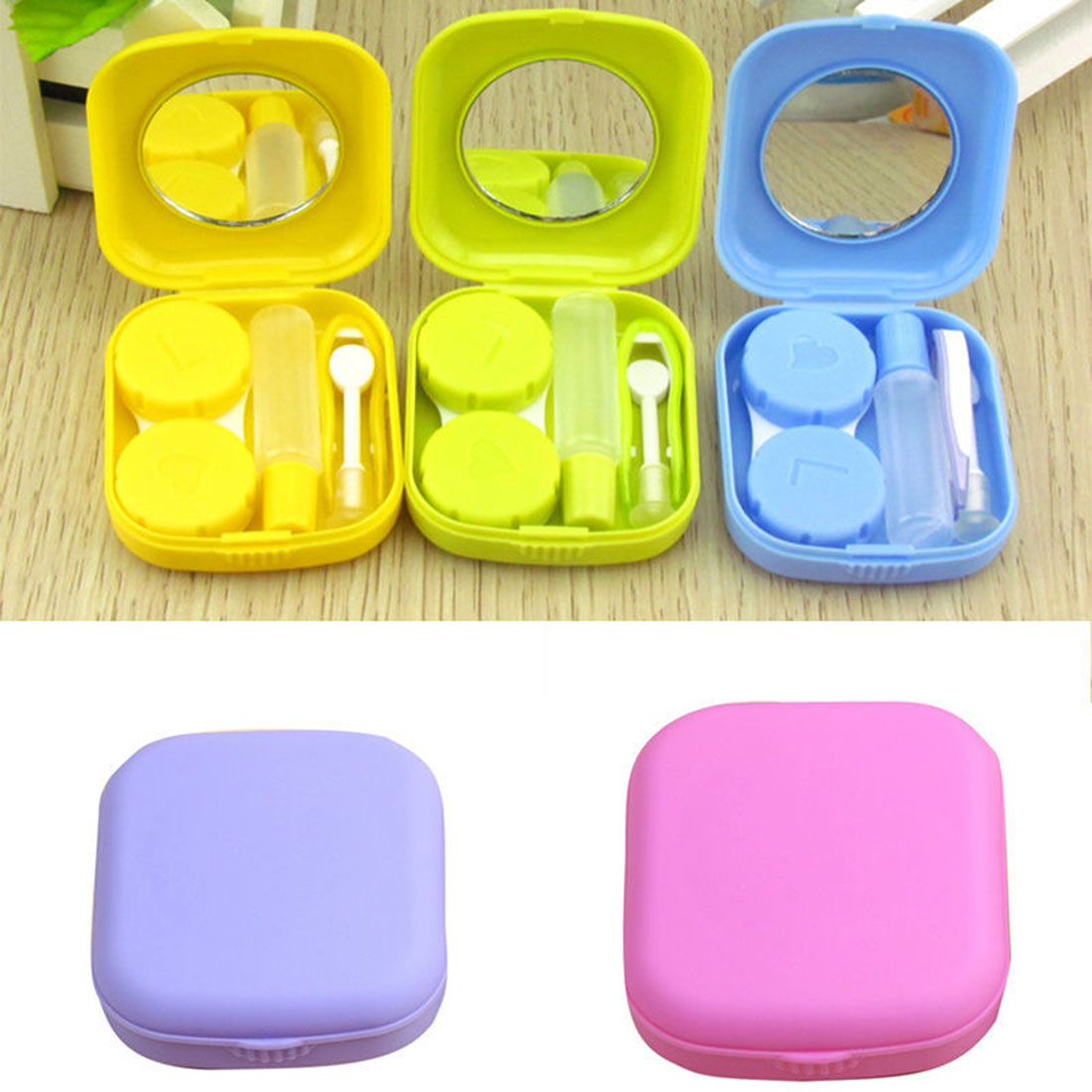 Cute Mini Contact Lens Case Travel Kit Mirror Container