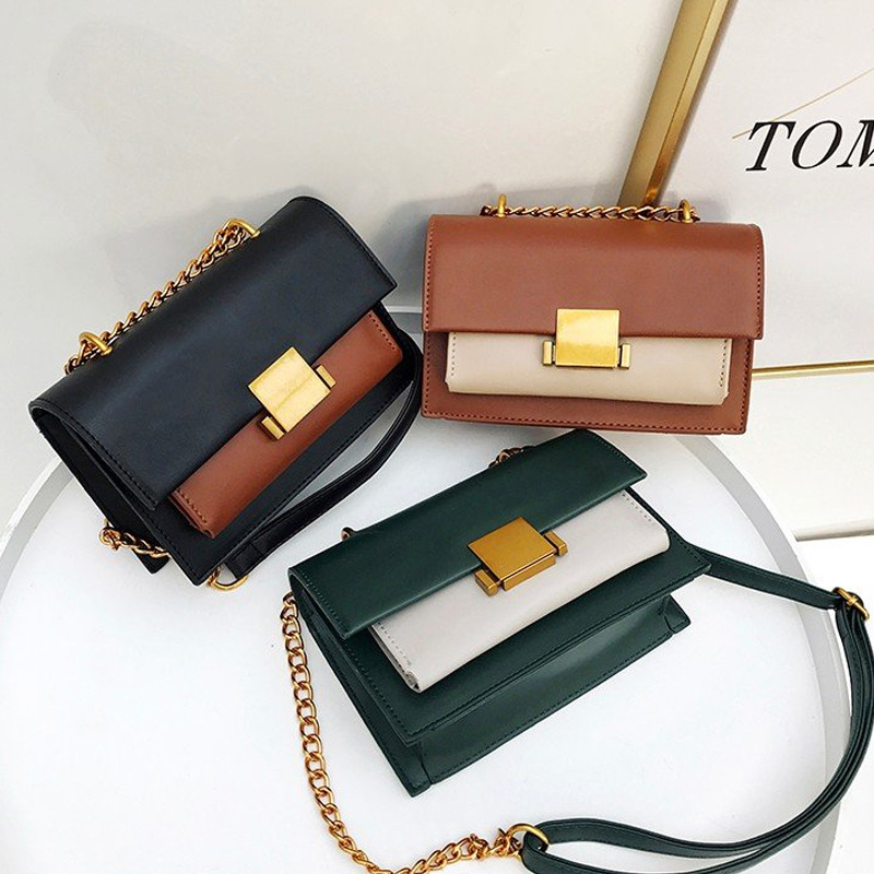 Chic chain PU handbags Europe and the United States hit color womens shoulder bag retro soft leather Ms. small bag Messenger ba