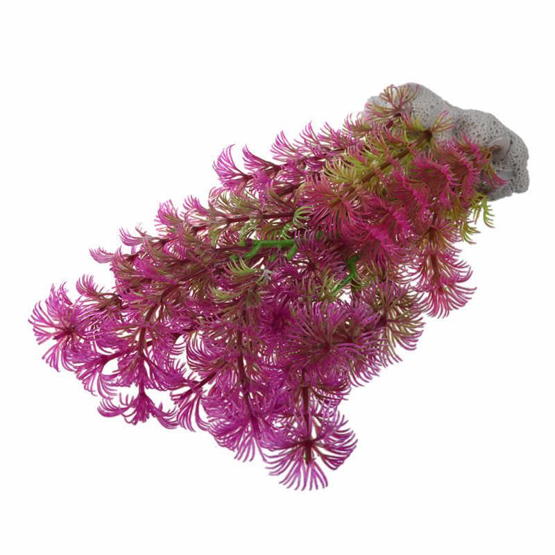 Buatan Tanaman 15-20 Cm Dekorasi Akuarium Tanaman Air Ungu + Hijau