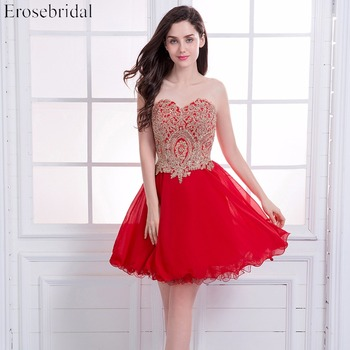 Short Prom Dresses Erosebridal Red Chiffon Formal Women Party Wear Gold Appliques Bodice Lace Up Back Vestido De Festa