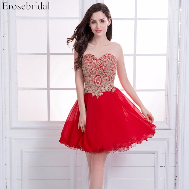 Short Prom Dresses Erosebridal Red Chiffon Formal Women Party Wear Gold Appliques Bodice Lace Up Back Vestido De Festa