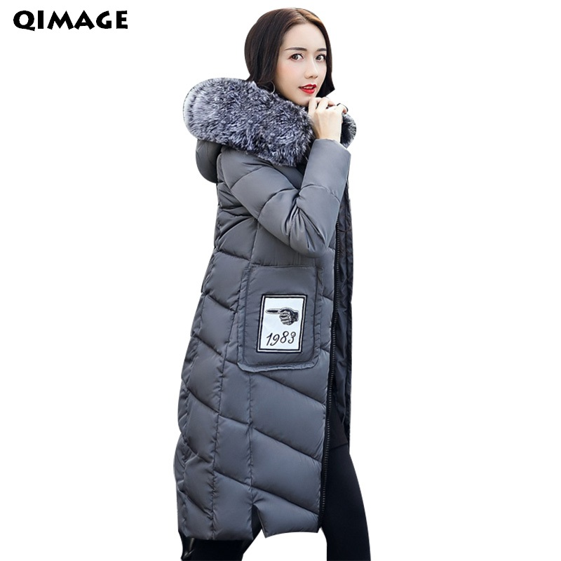 QIMAGE Women Winter Coats 2017SlimFur Collar Long Parkas FemaleThick WarmOuterwear Jacket Winter Parkas Women Clothing PlusSize