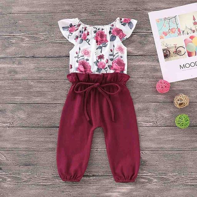2019 nueva ropa de bebé niñas tela estampado Floral Patchwork mameluco oddler niños bebé niña ropa Top mono trajes