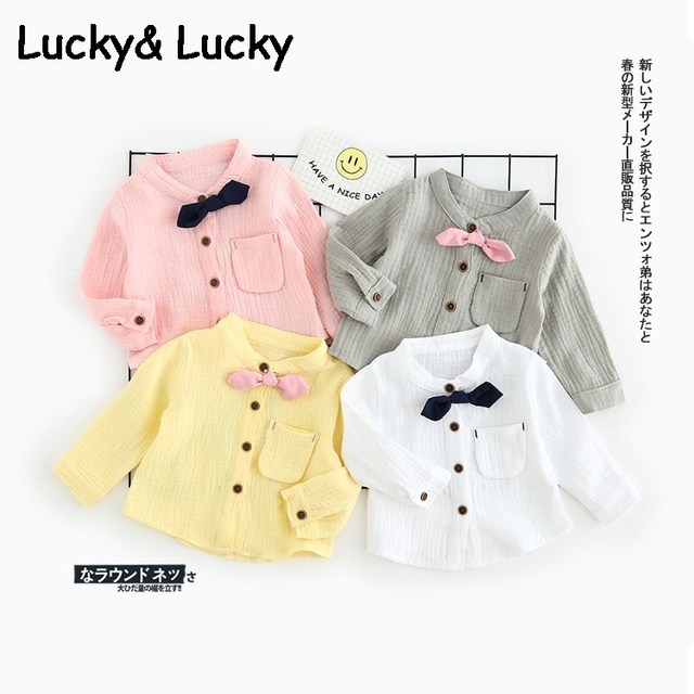Fashion new baby tops baby boy clothes with bow spring clothes top for baby boys and girls