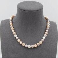 Подлинная белый розовый лаванды мульти Цвет пресноводный жемчуг Цепочки и ожерелья, AAA 8 8,5 мм Свадебные жемчуга, 925 пробы серебро застежка