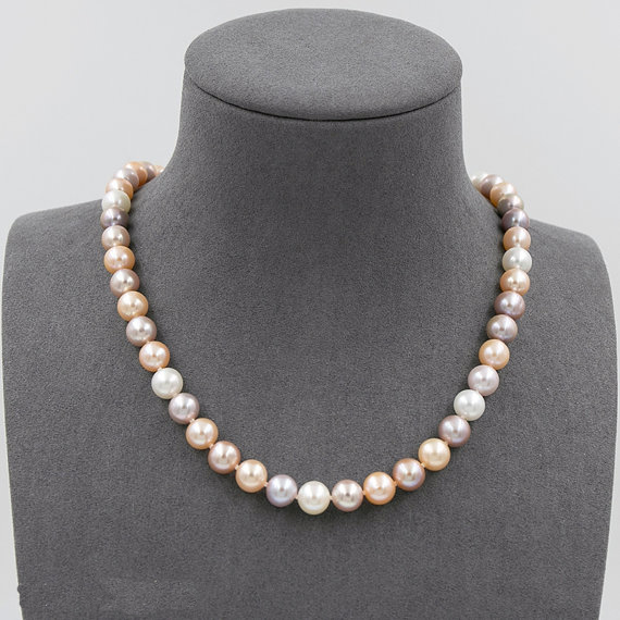 Genuine White Pink Lavender Multi Color Freshwater Pearl Necklace, AAA 8-8.5MM Wedding Pearl Jewellery,925 Sterling Silver ClaspGenuine White Pink Lavender Multi Color Freshwater Pearl Necklace, AAA 8-8.5MM Wedding Pearl Jewellery,925 Sterling Silver Clasp