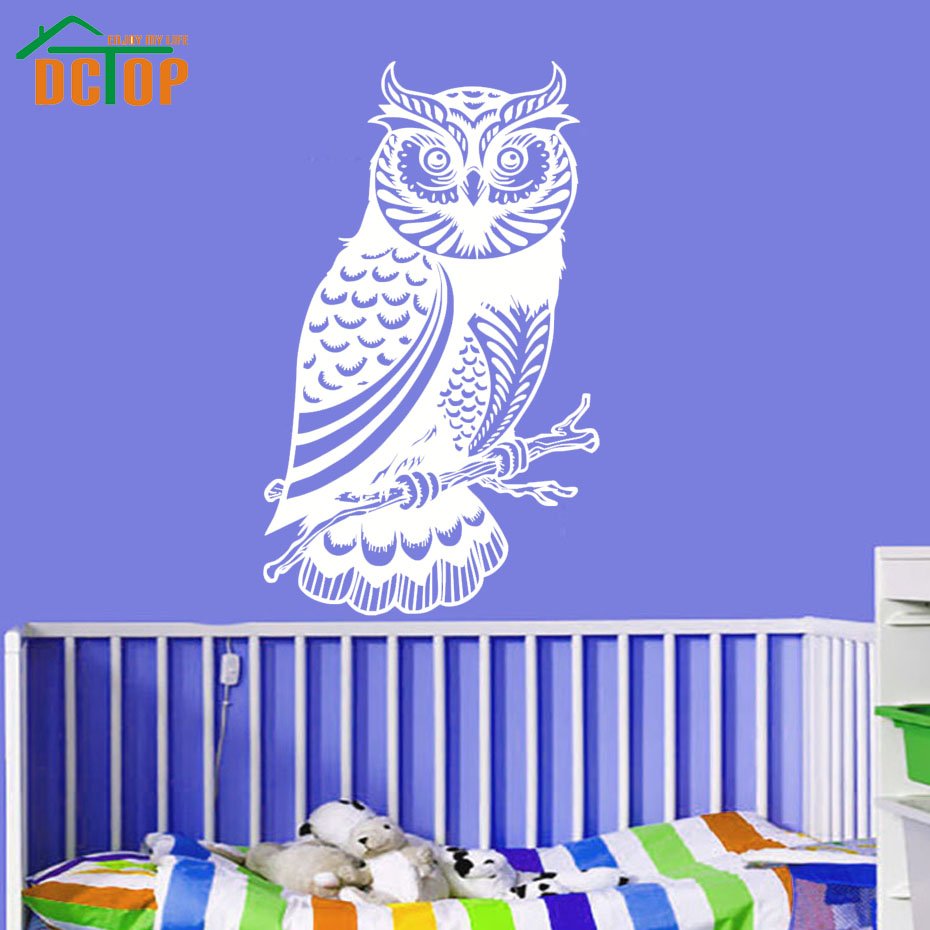 Kids Favorite Cute Owl Wall Stickers For Female Bedroom Decorative Vinyl Hollow Out Animal Wall Decal Design