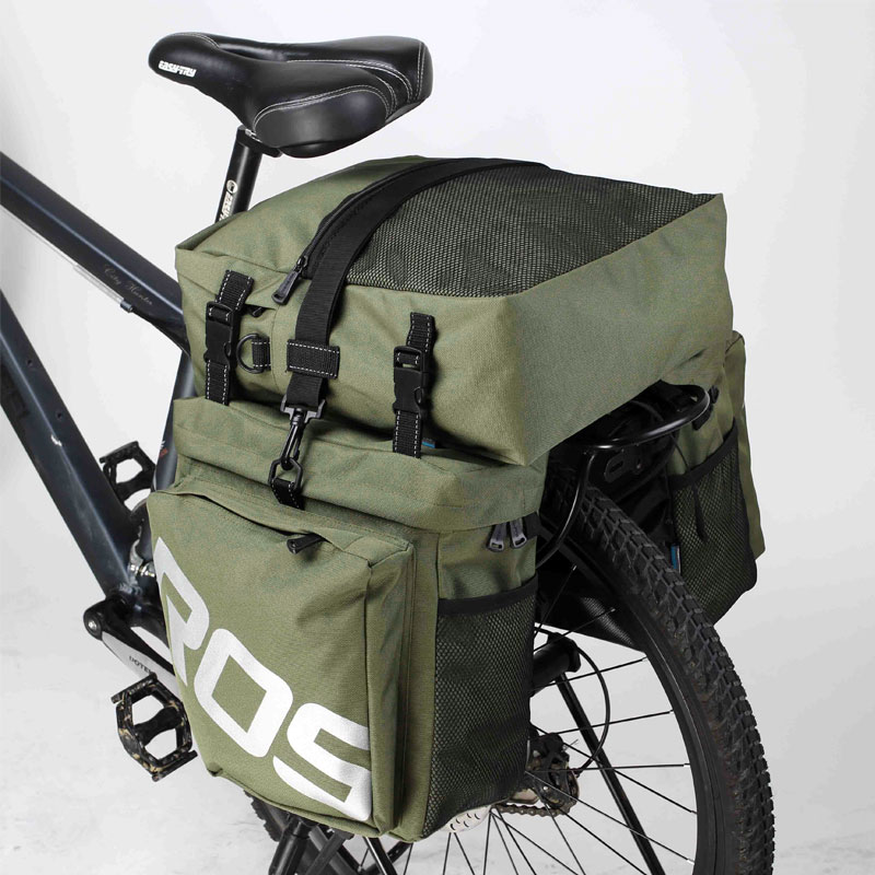 ROSWHEEL 3 In 1 Bicycle 37L Road Bike MTB Rear Rack Bag New Bicycle Luggage Carrier Bag Army Green Bike Pannier With Rain Cover roswheel 50l bicycle waterproof bag retro canvas bike carrier bag cycling double side rear rack tail seat trunk pannier two bags