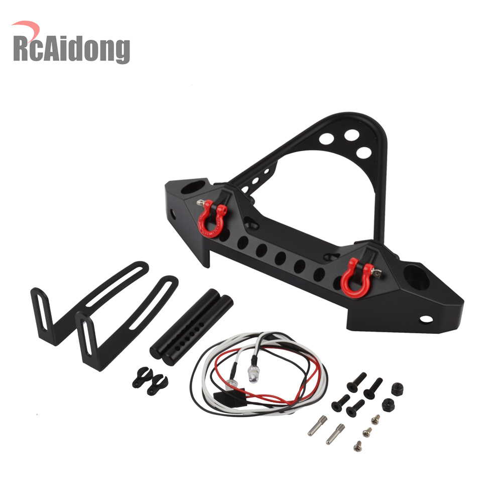 RC Car Metal Front Bumper with Light of 1/10 RC Crawler Traxxas TRX-4 TRX4 Axial SCX10 II 90046 D90 Upgrade Part classic trx4 metal front bumper for 1 10 rc crawler traxxas trx 4 trx 4