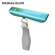 NEWACALOX 50kg x 10g LCD Stainless Steel Travel Weight Scale Portable Digital Luggage Scale with 1M Tape Spirit Level
