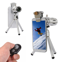 Discount! Phone Lens kit 12x Zoom Telephoto Lentes Telescope For iPhone 7 6 5 s Plus Xiaomi Meizu HTC With Mobile Tripod Bluetooth Shutter
