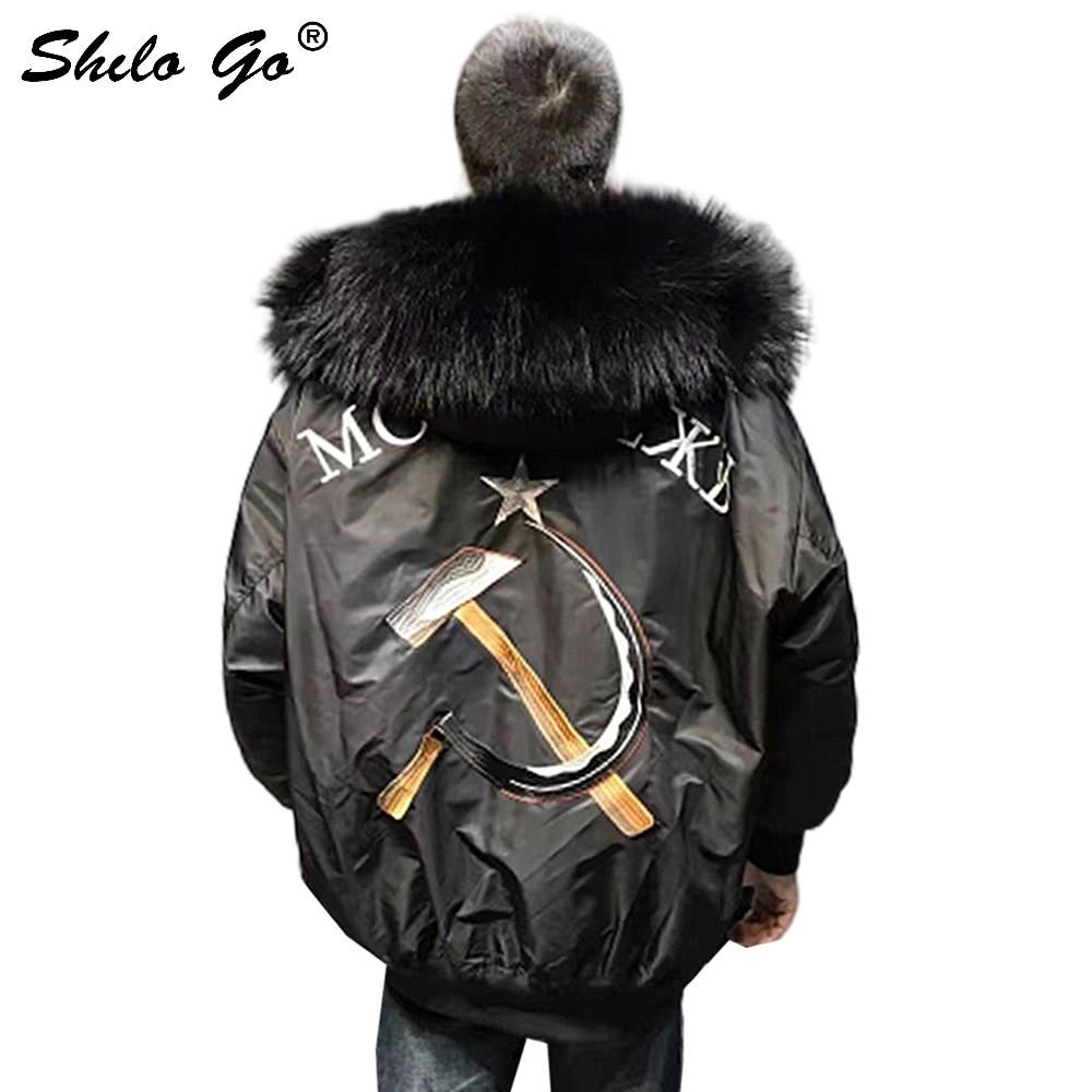 Rapture Waterproof Bomber Jacket Big Raccoon Fur Hood Winter Men Parka Natural Real Fur Coat Men Warm Thick Embroidery Titide Down