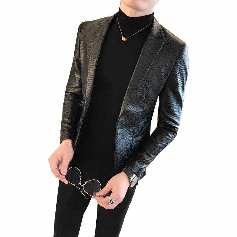 2019 nouveau printemps et automne été en cuir fourrure manteau en cuir hommes Slim costume en cuir costume tendance mode décontracté hommes veste - 5