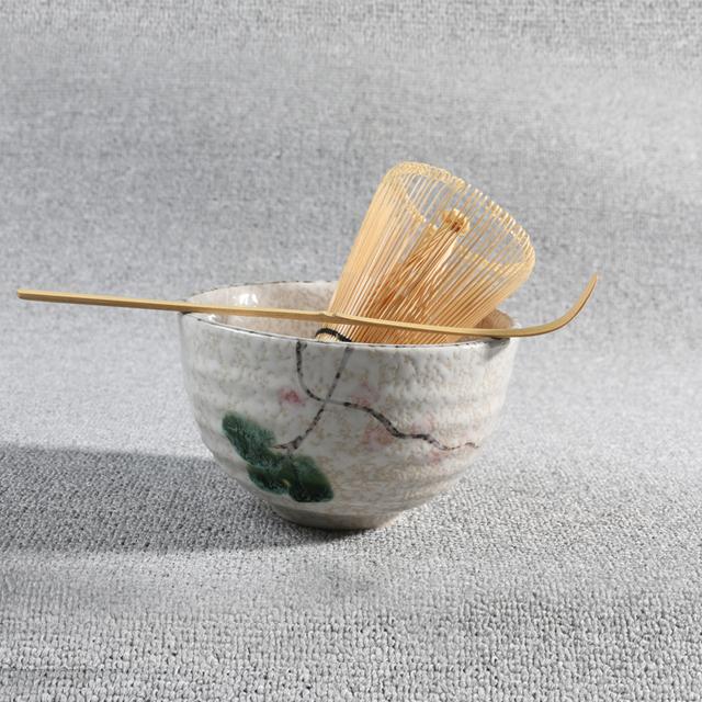 3pcs sets Tea Ceremony Matcha Ceramic Tea Bowl Bamboo Tea Scoop Matcha Whisk Japanese Teaware Tea Tool 4 Style matcha bowl set
