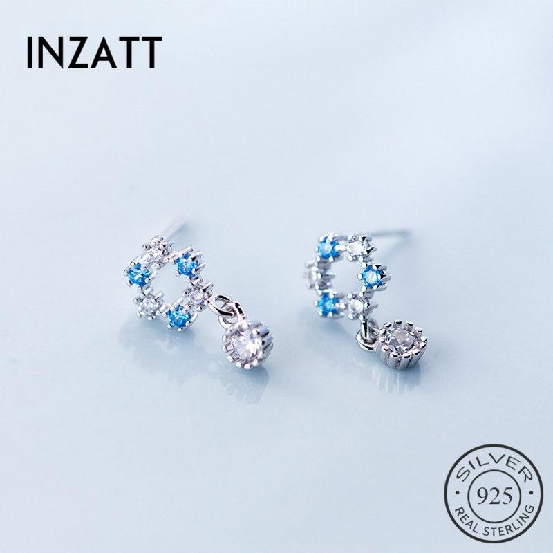 INZATT Elegant Real 925 Sterling Silver Zircon Round Cute Blue Crystal Stud Earrings 2018 Fashion Jewelry For Women Accessories