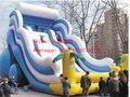 Fábrica personalizada super gran tobogán inflable/PVC inflable tierra tobogán para niños y adultos/trampolín al aire libre