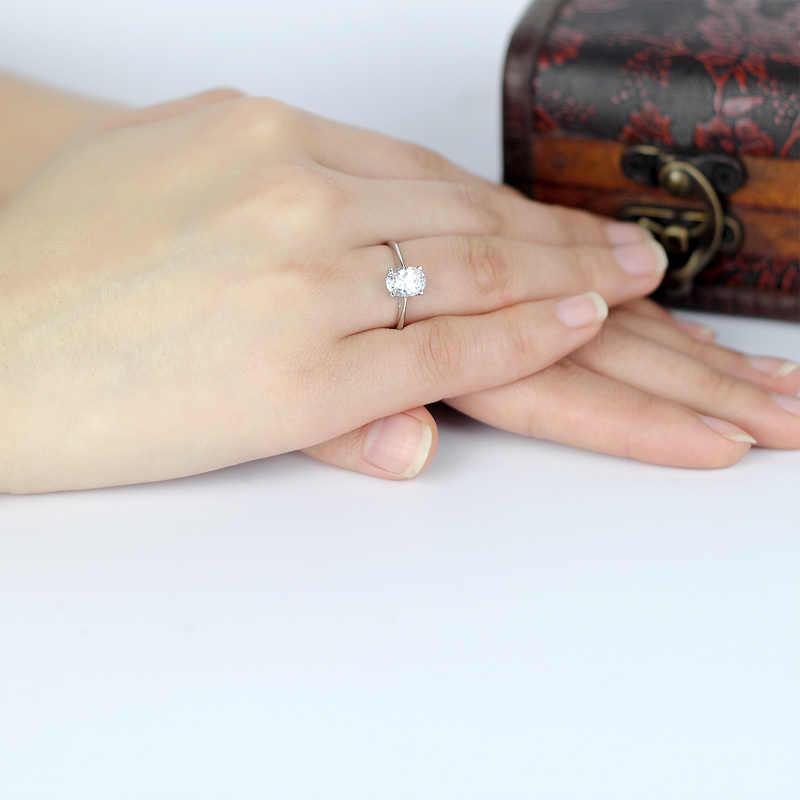 หรูหรารีCut Solitaireแหวน925เงินสเตอร์ลิงนะนิ้วหมั้นแหวนสัญญาสำหรับผู้หญิงงานแต่งงานของขวัญคนรัก