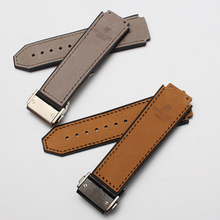 25mm x22mm Grey Calfskin leather and Inner Rubber Strap watchband lug 19mm For brand BIGBANG Sport Watches men Deployment Buckle