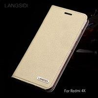 wangcangli leather calfskin litchi texture For Xiaomi Redmi 4X flip phone case all handmade custom