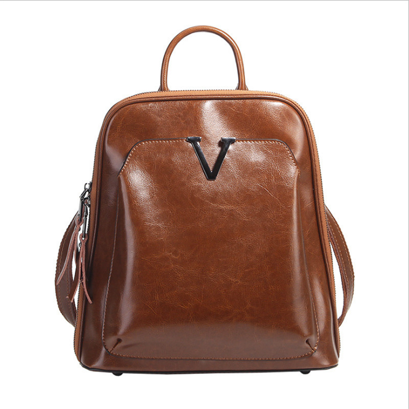 ALAVCHNVA original design new fashion oil wax leather ladies large capacity solid color backpack LF 801