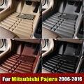 Esteiras do assoalho do carro para mitsubishi pajero 2006-2016 anos + xpe tapete do carro de couro anti-slip frente & forro traseiro auto tapete impermeável
