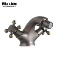 Free post Antique bidet faucet shattaf tap double handle antique brown bidet mixer crane antique brass tap bathroom faucet